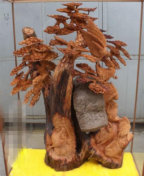 红豆杉根雕松和延年摆件/祝寿礼品